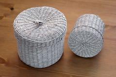 Two seagrass basket Royalty Free Stock Photos