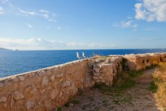 Two seagulls on the wall of If castle. Marseilles, France Royalty Free Stock Images