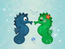 Two seahorses on the seabed. Illustration of two seahorses on the seabed Royalty Free Stock Images
