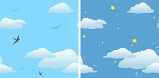 Two seamless background - day sky & night sky stock illustration