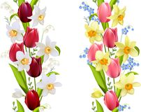 Two seamless borders with spring flowers Stock Images