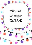 Two seamless borders with watercolor garland. And example of frame Royalty Free Stock Photography