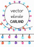Two seamless borders with watercolor garland. And example of frame Stock Images