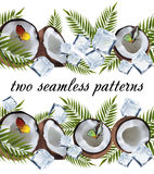 Two seamless coconut pattern Stock Photo
