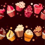 Two seamless cupcake borders. Red and yellow seamless cupcake borders with dots Royalty Free Stock Photo