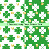 Two seamless lucky clover patterns pack stock illustration