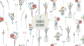 Free Two Seamless Pattern With Thin Long Flowers. Stock Photos - 82061263
