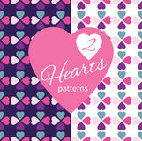 Two seamless patterns with colorful hearts Stock Photo