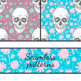 Two seamless patterns. Flower Skull Royalty Free Stock Image
