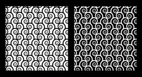 Two seamless patterns with spirals. In black and white. EPS8 vector Royalty Free Stock Photography