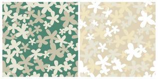 Two seamless retro patterns stock illustration