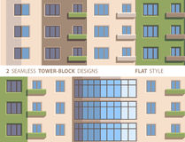 Two Seamless Tower-block Designs. Flat Style. Smartly grouped, so you can make more element combinations Royalty Free Stock Photo
