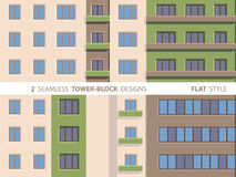 Two Seamless Tower-block Designs. Flat Style. Smartly grouped, so you can make more element combinations Royalty Free Stock Photos
