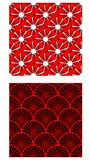 Two seamless vector tiles with abstract geometric pattern, color combination of red, white and black Stock Photo