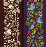 Two seamless vertical patterns with bird. Stock Image