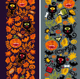 Two seamless vertical patterns with black cat. Stock Photography