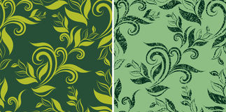 Two Seamless vintage grunge patterns with leafs Royalty Free Stock Photography