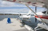 Two seaplanes in water Stock Image