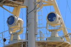 Two searchlights on crow nest of old icebreaker closeup Stock Photos