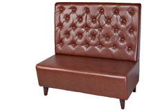 Two seater brown imitation leather office couch, isolated on wh. 2 seater brown leatherette office sofa, isolated on white, clipping path saved royalty free stock image