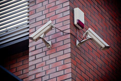 Two security cameras Stock Images