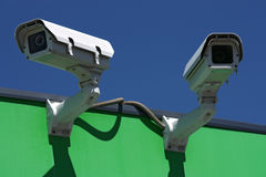 Two security cameras Royalty Free Stock Image