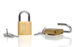Two security gold locks and keys Royalty Free Stock Photos