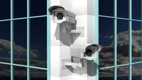 Two security surveillance cameras Stock Images