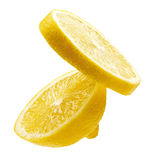 Two segments of a lemon. Two segments of a fresh lemon isolated on white background Royalty Free Stock Photos