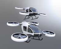 Two self-driving passenger drones flying in the sky. 3D rendering image Royalty Free Stock Images