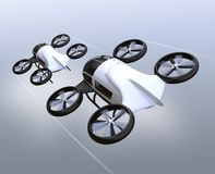 Two self-driving passenger drones flying in the sky. 3D rendering image Stock Images