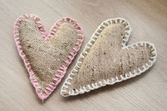 Two self made linen hearts Stock Image