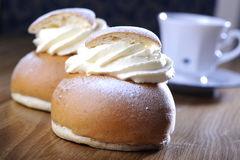 Swedish semla with coffee Royalty Free Stock Image