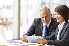Two senior business colleagues at meeting, close-up Stock Photo