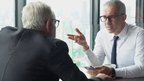 Two senior businessman discussion with partnership about work at office, executive meeting and conversation for success