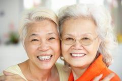 Two Senior Chinese Women Sitting At Home. Portrait Of Two Senior Chinese Women Sitting At Home royalty free stock photo