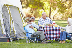Two Senior Couples Enjoying Camping Holiday Royalty Free Stock Photo