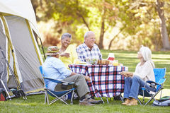 Two Senior Couples Enjoying Camping Holiday. In Countryside Smiling stock photos