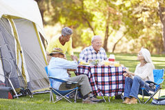 Two Senior Couples Enjoying Camping Holiday Royalty Free Stock Photos