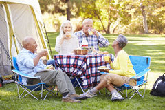 Two Senior Couples Enjoying Camping Holiday Stock Photo