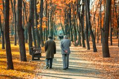 Free Two Senior Friends Man Walking Along Beautiful Colorful Autumn City Park. Pair Of Old Age Persons Talking During Walk At Beautiful Stock Images - 153923494