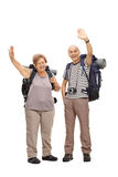 Two senior hikers waving at the camera. Full length portrait of two senior hikers waving at the camera isolated on white background Royalty Free Stock Image