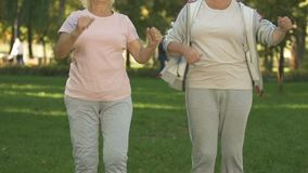 Two senior ladies training outside, warming up before workout in park, health. Stock footage stock video footage
