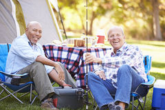 Two Senior Men On Camping Holiday With Fishing Rod. Smiling To camera stock photography