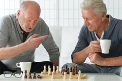 Senior men playing chess royalty free stock image