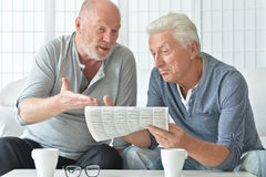 Two senior men with newspaper Royalty Free Stock Photography