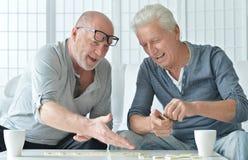 Two senior men  playing domino Stock Photos