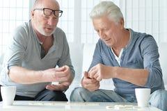 Two senior men  playing domino Stock Photography
