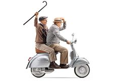 Two senior men riding a vintage scooter and waving with a cane. Full length shot of two senior men riding a vintage scooter and waving with a cane isolated on stock image