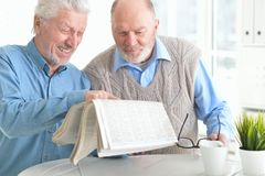 Two senior men reading newspaper. Two senior men sitting at table and reading newspaper royalty free stock photo